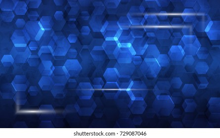 Illustration frame of glowing parts in background of hexagons  asbtract blue tech background. Blank business cards, poster presentation
