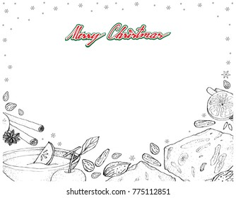Illustration Frame of Hand Drawn Sketch of Wassail and Torrone or Nougat Sign for Christmas Season.