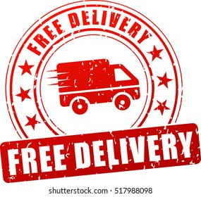 Illustration of free delivery red stamp icon