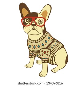 Illustration of french bulldog in sweater and glasses