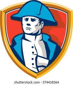 Illustration of French general commander Napoleon Bonaparte wearing bicorne bicorn hat twihorn hat with hand inside coat set inside shield crest done in retro style.