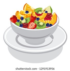 illustration of fresh fruit salad with peach, apple, strawberry, kiwi and cherry in bowl