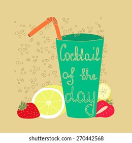 Illustration of fresh glass, strawberries, banana and lemon. Vector of cocktail of the day with fruits and berries. Bright illustration of paleo drink.