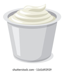 illustration of fresh sour cream in plastic packaging