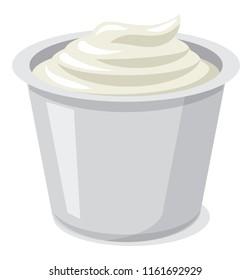 illustration of fresh sour cream in plastic packaging