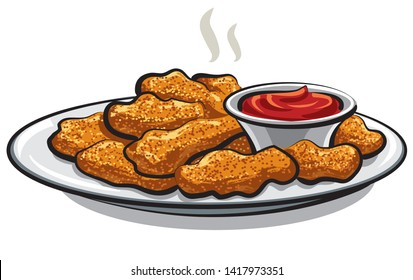 illustration of the fried chicken nuggets with a tomato ketchup