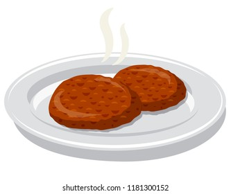 illustration of fried cutlets on a plate
