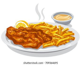 illustration of fried fish and chips with lemon and sauce