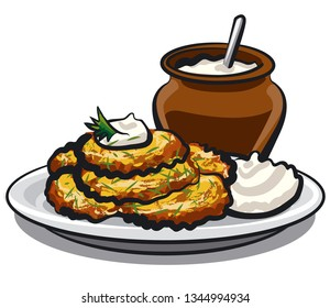illustration of fried potato pancakes with sour cream