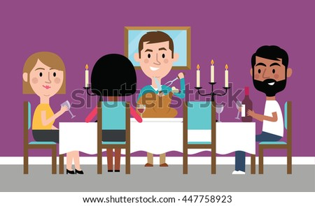 Illustration Of Friends Having Dinner Party At Home