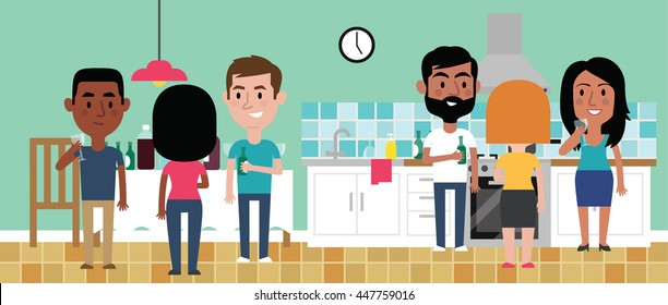 Illustration Of Friends Having Party In Kitchen At Home