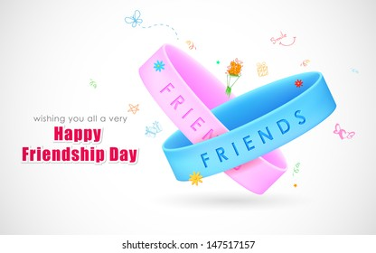 illustration of friendship band on Happy Friendship Day Greetings