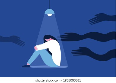 Illustration of a frightened girl sitting under a spot light haunted by black hands