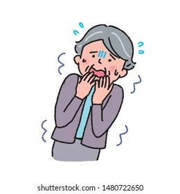 Illustration of a frightened senior woman
