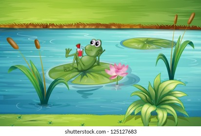 Illustration of a frog in a beautiful nature