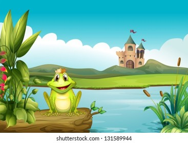 Illustration of a frog with a crown at the river
