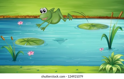 Illustration of a fron jumping from one water lily to another water lily