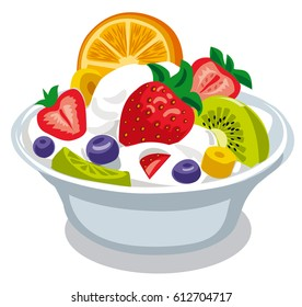 illustration of fruit salad with yogurt in bowl