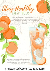 Illustration of fruit smoothie cocktail. Glass with orange summer cocktail, sliced peaches and ice with the palm frame on background. Hand drawn sketch for menu, invitation, banner or website