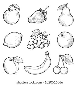 an illustration of fruits and berries. drawn here: Apple, strawberry, pear, lemon, grape, orange, apricot, banana, cherry. food elements collection for a design. seamless vector pattern