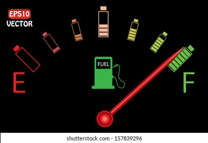 Illustration of fuel gauge with colorful batteries, on black background. Abstract fuel gauge with red indicator and vibrant color batteries. Isolated, easy to edit vector illustration.