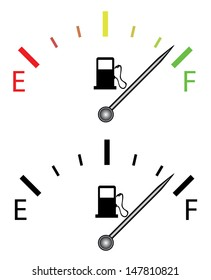 Illustration of fuel gauge, over white background. Isolated vector illustration.