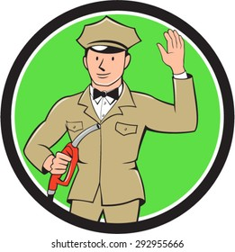 Illustration of fuel jockey gasoline attendant worker holding fuel pump nozzle waving hello viewed from the front  set inside circle on isolated background done in cartoon style.