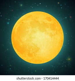 Illustration of a full moon  on a background of the starry sky