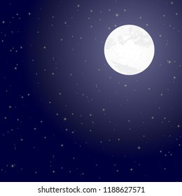 illustration of full moon and starry night background