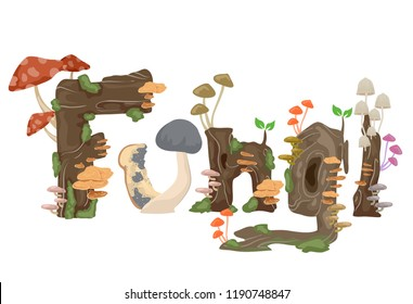 Illustration of Fungi Lettering with Mushrooms