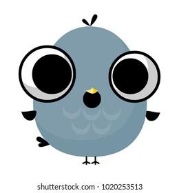 illustration of funny bird media icon smiley