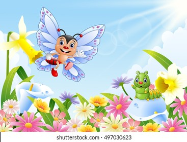 illustration of funny butterfly and caterpillar on flower field