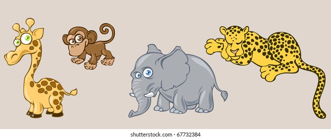 Illustration of funny cartoon african animals