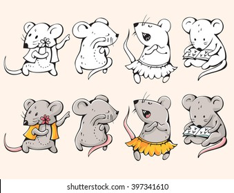 Illustration of funny cartoon mice. Hand-drawn drawing.  Vector.
