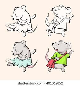 Illustration of funny cartoon mice. Hand-drawn drawing.  Vector.