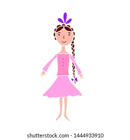 Illustration of funny cartoon princess girl in pink dress. Cute character.
