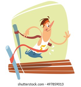 Illustration of funny cartoon smiling runner crossing the finishing line and winning