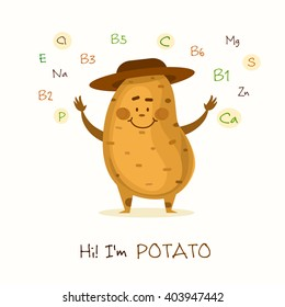 Illustration with funny character. Funny and healthy food. Vitamins contained in potato. Food with cute face. Vector cartoon. Vector illustration of vegetable isolated.
