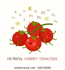 Illustration with funny character. Funny and healthy food. Vitamins contained in cherry tomato. Food with cute face. Vector cartoon.