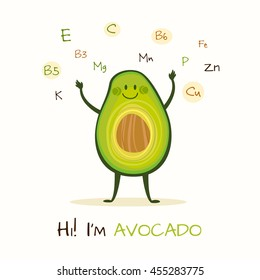 Illustration with funny character. Funny and healthy food. Vitamins contained in avocado. Food with cute face. Vector cartoon.