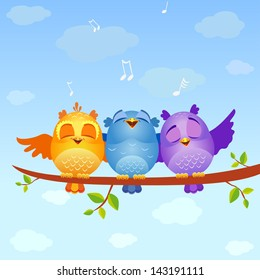 illustration of funny characters birds sing
