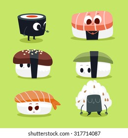 Illustration with funny characters of food. Postcard Valentine's Day. Love and hearts. Japanese traditional cuisine sushi.