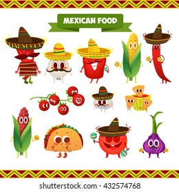 Illustration with funny characters. Mexican traditional food. Red and hot! Chili pepper and tacos with funny face.