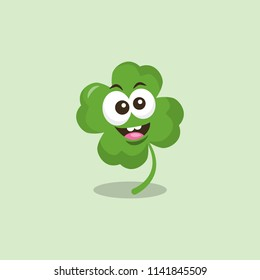 Illustration of funny cloverleaf mascot with big smile, isolated on light background. Flat design style for your mascot branding.