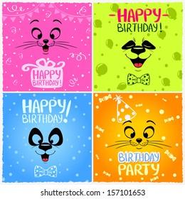 Illustration with funny emoticon happy birthday