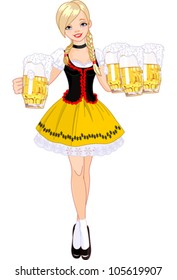 Illustration of funny German girl serving beer