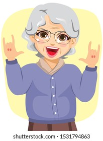 Illustration of funny grandmother rocking with horn hands up