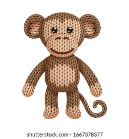 Illustration of a funny knitted monkey toy. On white background