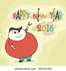 Illustration of a funny man enjoying and celebrating on occasion of Happy New Year 2016.