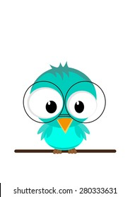 Illustration of a funny owl  in glasses sitting on a branch. Vector EPS10